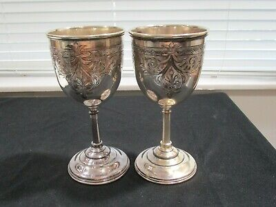 Redfield & Rice Water / Wine Goblet – Antique Pair (2) Ornate Silver-Plate