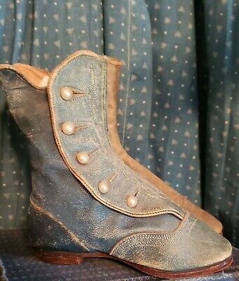 Rare Early Antique Blue Leather Button Up Child's Baby Shoes