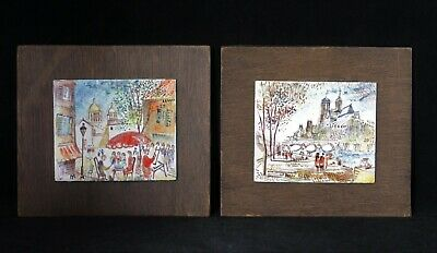 One Pair Of Vintage Mid-Century Hand Painted Enamel Art Tiles Of Venice, Italy