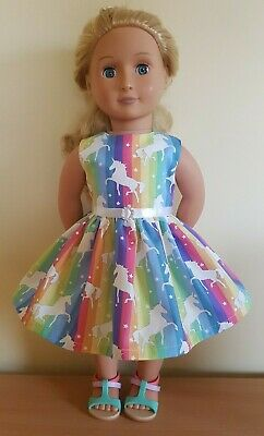 "Fits Our Generation fits American Girl Rainbow Unicorn Dress 18"" Doll Clothes"