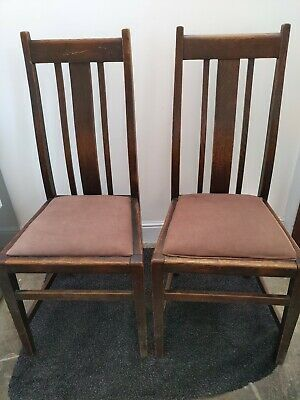 2 Vintage Old Wooden Antique Chairs Pair Victorian Edwardian Dining Kitchen good