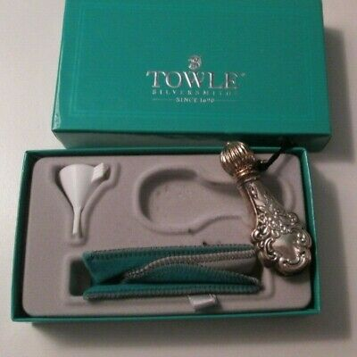 Towle Victorian Style Repousse Sterling Silver Perfume Bottle Vial W/ Box Etc
