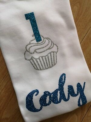 Cupcake 1 Girls Boys Personalised Birthday Tshirt 1st First Outfit Age Top I Am