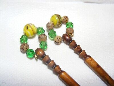 Vintage Pair Turned Wooden Lacemaking Bobbins With Glass Spangles