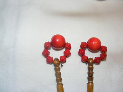Vintage Pair Turned Wooden  Lacemaking Bobbins With Wooden Spangles