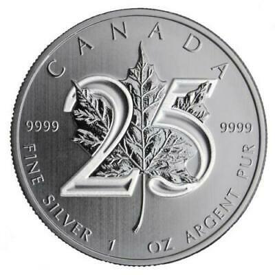 New 2013 Canadian Silver Maple Leaf 25th Anniversary 1oz Coin - NO RESERVE