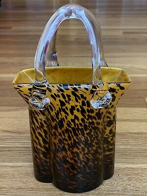 Murano Style Large Handbag Sculpture in Glass 12""
