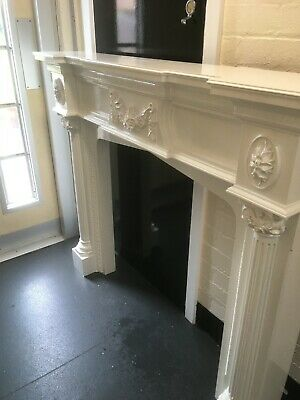 Victorian / Antique Cast Iron Fire Surround /  Fireplace tiles