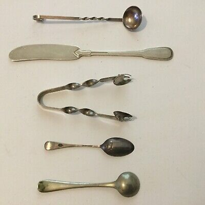 Salt+Demitasse Spoons,Clamshell Tongs,Hand-Wrought Ladle,Tiffany Butter Knife