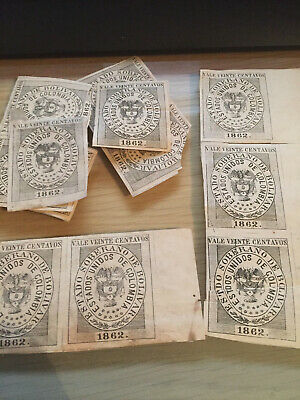 1862 imperforate Columbian imperforate stamps x 12 dont appear to be cancelled