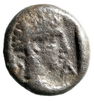 "Caria, Halikarnassos AR Hemiobol ""Head of Ram & Male"" 400-340 BC Rare"