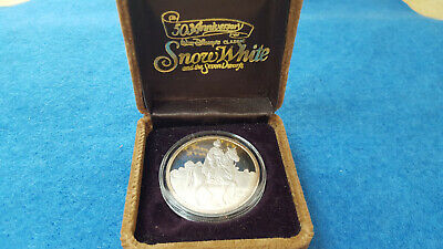 Snow White and the Seven Dwarfs 50th Anniversary 1 oz Silver Bullion Coin w/box