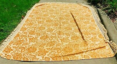 "VINTAGE 1960'S 8' Fringed Gold Fabric Bedspread 110 x 91"" Excluding fringe"