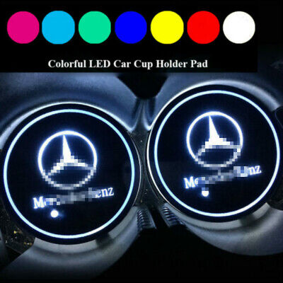 2X Colorful LED Car Cup Holder Bottom Pad Mat Auto Atmosphere Lights For Mercede