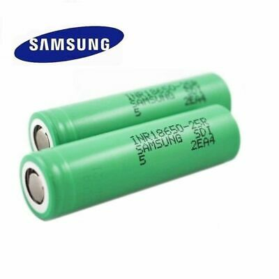 2x Samsung INR18650-25R 2500mAh 35A Flat Top Rechargeable Battery w/ Free Case