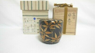 Japanese Tea Ceremony Tea Caddy  Natsume Dew,Bamboo grass w/box From Japan