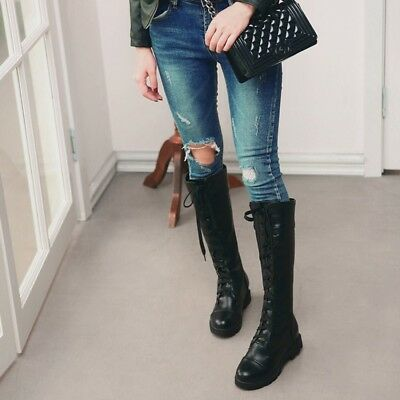 Ladies Lace Up Riding Combat Knee High Boots Girls Low Block Heel Winter Shoes
