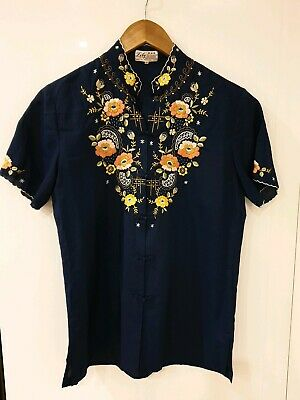 Vintage Women Chinese  Shirt Traditional Embroidery Tops Frog Button