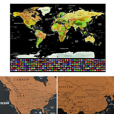 Scratch Off World Map Learn Deluxe Large Travel Wall Poster Home 42X30cm