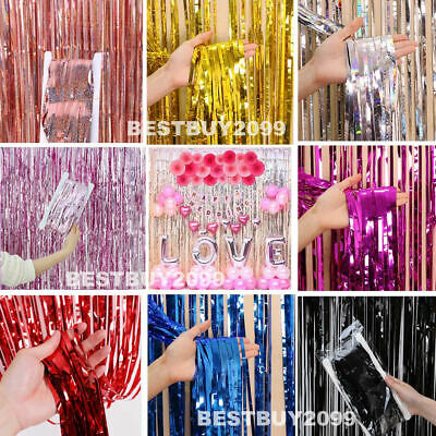 2M-3M Foil Fringe Tinsel Shimmer Curtain Door Wedding Birthday Hen Party Decors