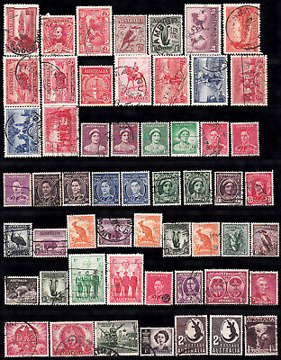 Stamps. Australian. Predecimal lot of 180. 3.5 pages. Very high CV. Used. <25c @