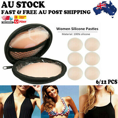 AU 12x Reusable Nipple Covers Pasties Pad Silicone Breast Bra Invisible Stick On