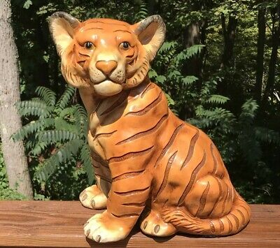 "Vintage MARWAL Bengal Tiger Cub Statue Sculpture Zoo Animal Decor 14"" Tall"