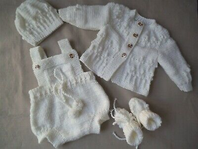 Hand Knitted Baby Clothes Matinee Pram Set Outfit  Romper or Reborn Baby Doll