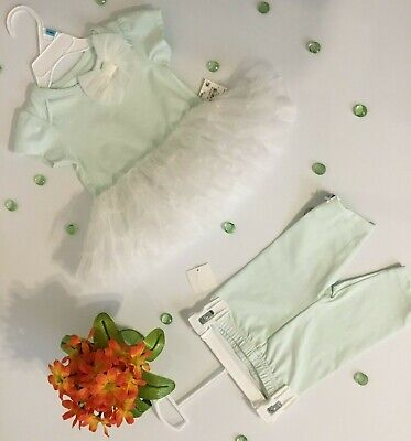 First impressions baby girls 2 pc. tutu and leggins 3-6 months green