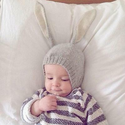 Newborn Baby Kids Rabbit Bunny Ears Hat Crochet Knitted Earflap Hat Warm Caps WL