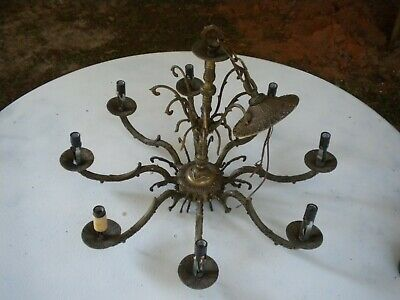 Vintage Made in Spain Hanging Brass Ceiling Chandelier Light Fixture 8 Arms