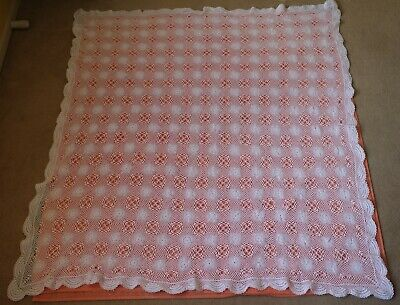 Vintage Small Rectangle White Crochet Table Cloth