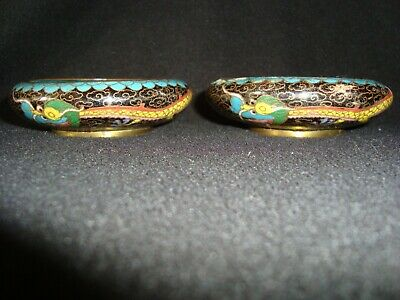 Pair of Small Antique Chinese Cloisonne Dragon Bowls