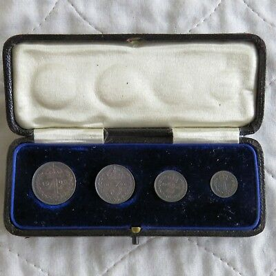 1906 EDWARD VII SILVER 4 COIN MAUNDY SET - dated boxed