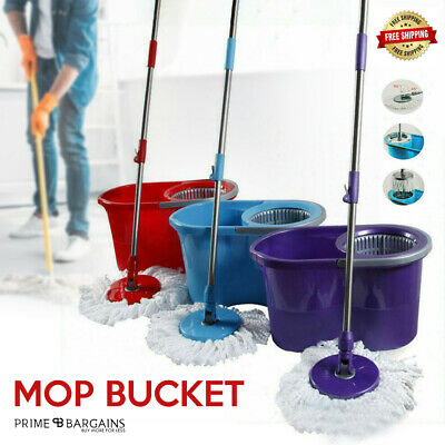 Rotating Spinning 360° Mop Bucket with Adjustable Handle Microfibre Mop Head Top