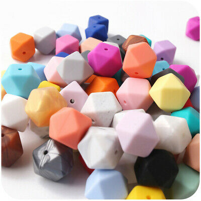 Hexagon Food Grade Silicone Chewable Beads Baby Teething Jewelry Necklace Making