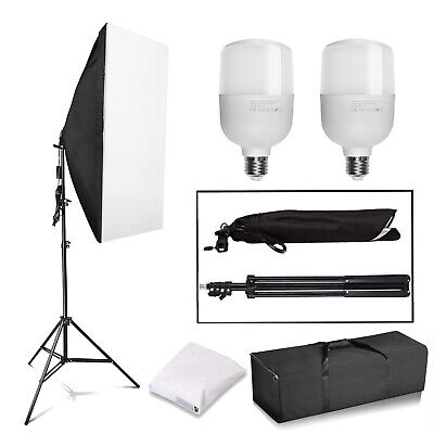 2x 25W LED Continuous Lighting Softbox Photography Studio Soft Box Light Stand