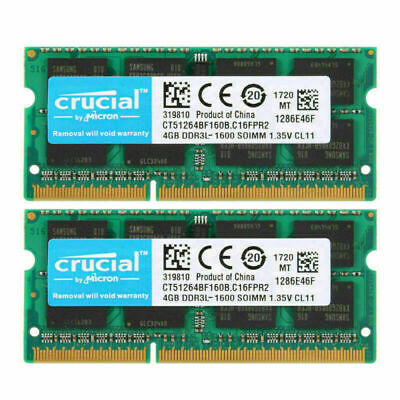 For Crucial 2X 4GB PC3-12800 DDR3L 1600MHz 204Pin SoDIMM Laptop Notebook Memory
