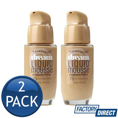 2 x MAYBELLINE DREAM LIQUID MOUSSE AIRBRUSH FINISH 75 NATURAL BEIGE MAKEUP 30mL