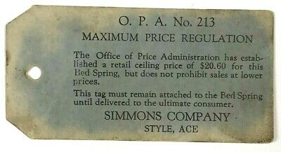 Antique Vintage Simmons Company Ace Bed Spring Tag OPA 213 Max Price Regulation