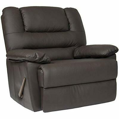 Deluxe Padded Leather Rocking Recliner Chair Brown with Thick Padded Cushions