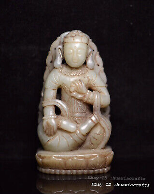 9.3cm Chinese Natural old HeTian Jade Hand-carved Buddha Pendant Amulet HJJO