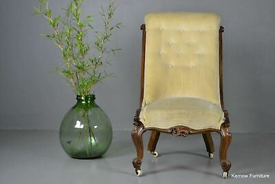 Antique Victorian Rosewood Button Back Chair Armchair