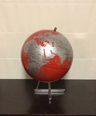 ATTRACTIVE HIGH QUALITY Silver & Red Educational World Globe 30cm