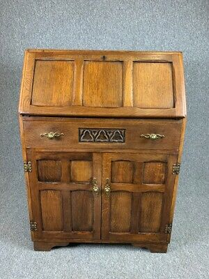 Oak Bureau 1940's Antique Style Writing Desk With Drawers Vintage - See Delivery