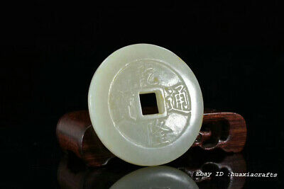 Rare Chinese Natural HeTian Jade Hand-carved Ancient coins Pendant Amulet JJO