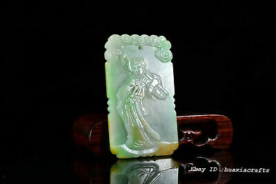 Rare Chinese Natural Emerald Jade Hand-carved Child Pendant Amulet JJO
