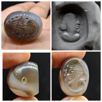 Excellent Old Greek King Face Craved Intaglio Sulimanin Agte Stone Stamp Bead
