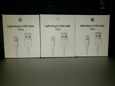 3 Pack Original OEM Apple Lightning Cable USB Charger for iPhone 6 7 8 X Plus 2M