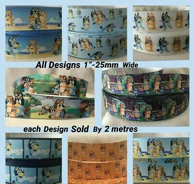 Grosgrain Ribbon-Bluey x 4 different designs all sold by 2m per design -Craft